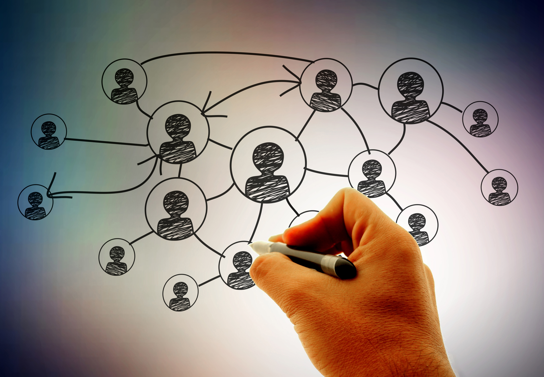 Businessman | Hand drawing social network