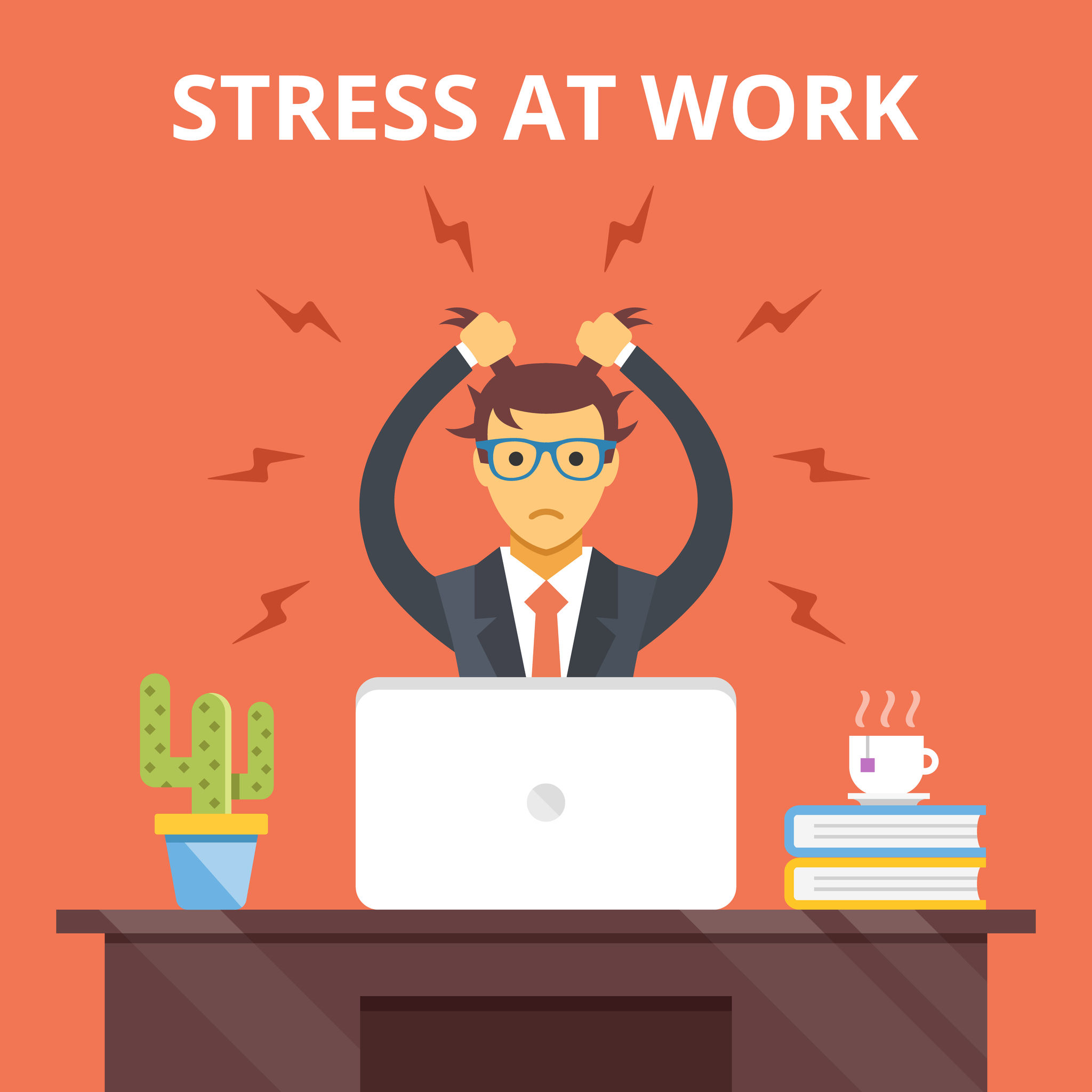 46607958 – stress at work. stress situation concept. vector flat illustration